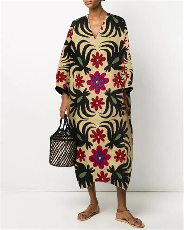 V-Neck Floral Print Straight Linen Dress