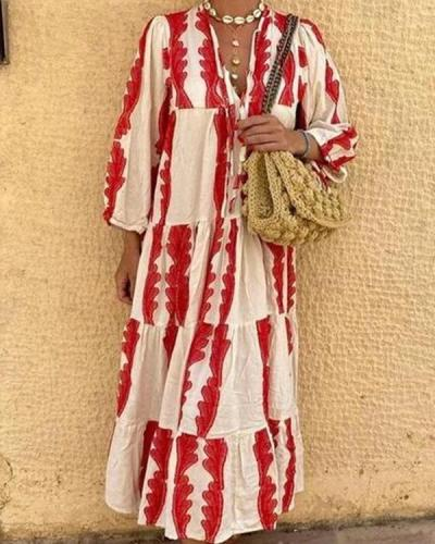 Red Print Long Sleeve Loose Maxi Dress