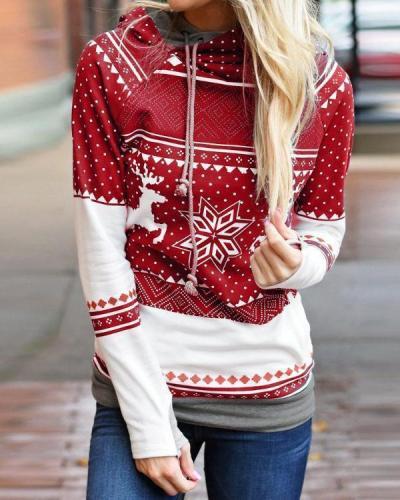 Women's Christmas Deer Print Long Sleeve Hooded Sweatshirt