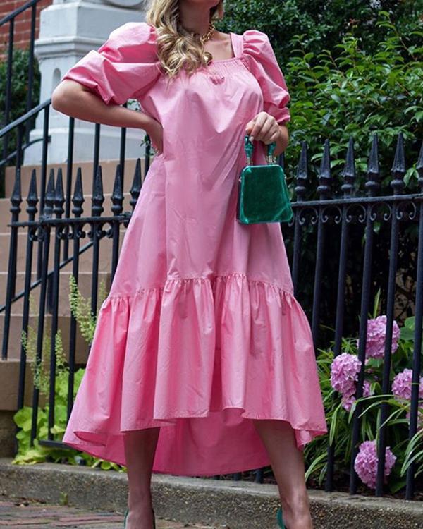 Falbala Square Neck Mid-Calf Plain Pullover Women's Dress