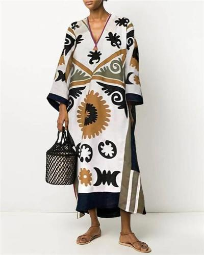 V-Neck Print Loose Straight Linen Dress
