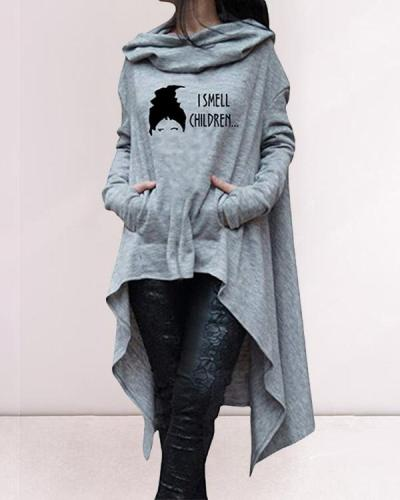 Women Print Casual Daily Long Hoodies