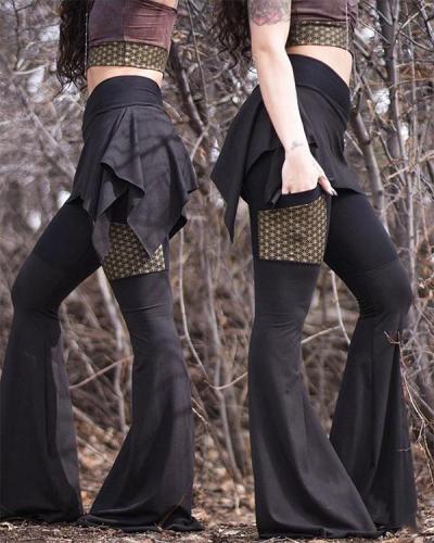 Plus Size Women Fashion loose High Waist Slim Pants Vintage Bell Bottom