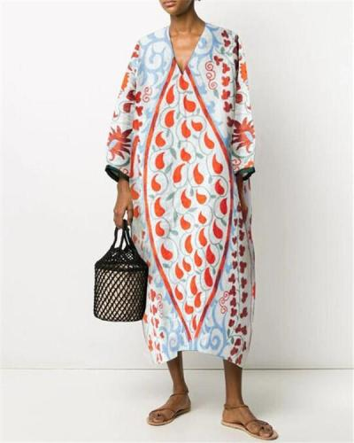 V-Neck Floral Print Straight Linen Dress
