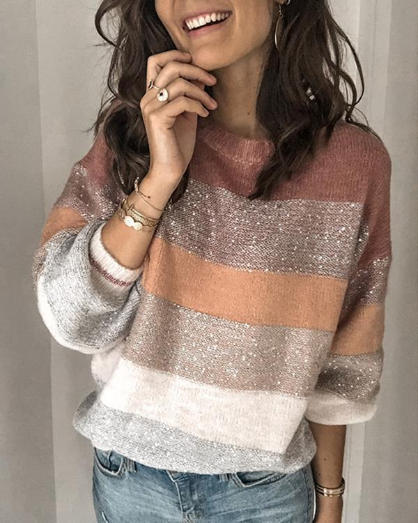 New Striped Color-block Knitted Tops Sweaters