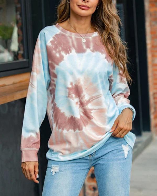 Tie-dye Printed Loose Round Neck Long Sleeve Sweatershirt