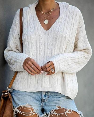 Casual Solid Hollow Out Knitted Hooded Sweater