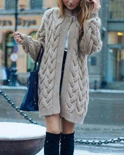 Knit Cardigan Long Coat Long Sleeve Sweater Outwear