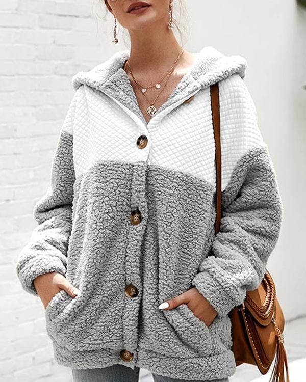 Hooded Long Sleeve Coat For Women