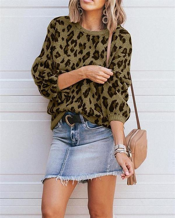 Leopard Knitwear Lantern Sleeve Stylish Fall Casual Daily Women Sweater