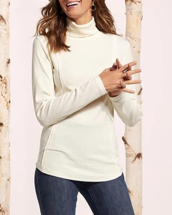 Fashion Soft Warm Solid Slim Blouses
