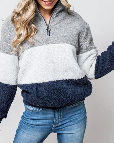 Color-Block Fluffy Teddy Sweatshirts