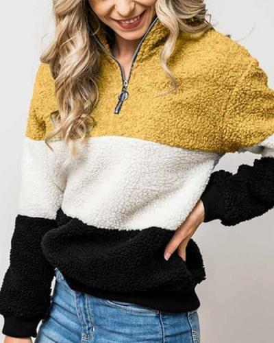 Color-Block Fluffy Teddy Sweatshirts
