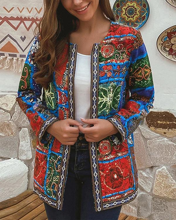 Cotton Ethnic Print Patchwork Ribbon Plus Size Jackets
