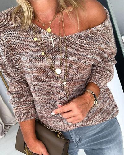 Casual One Shoulder Knitted Sweater