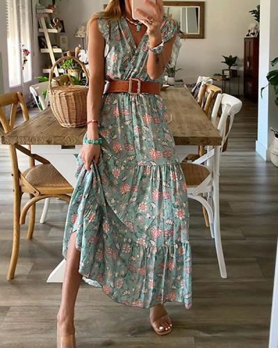 Floral Print Bohemian Dress Ruffled Sleeveless Maxi Dress with Belt