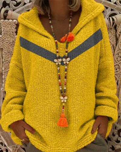 Hooded Pullover Sweater V-Neck Sweater