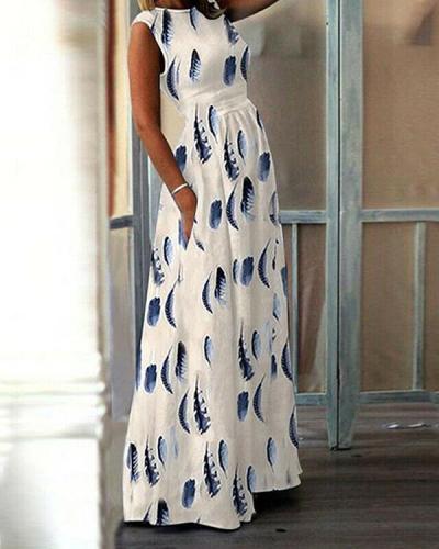 Ethnic Print Beach Dress Casual Print Maxi Dress