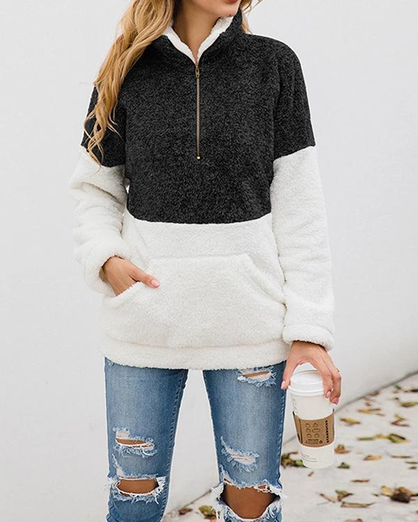 Color Block Turtleneck Long Sleeve Teddy Bear Fluffy Sweatshirts