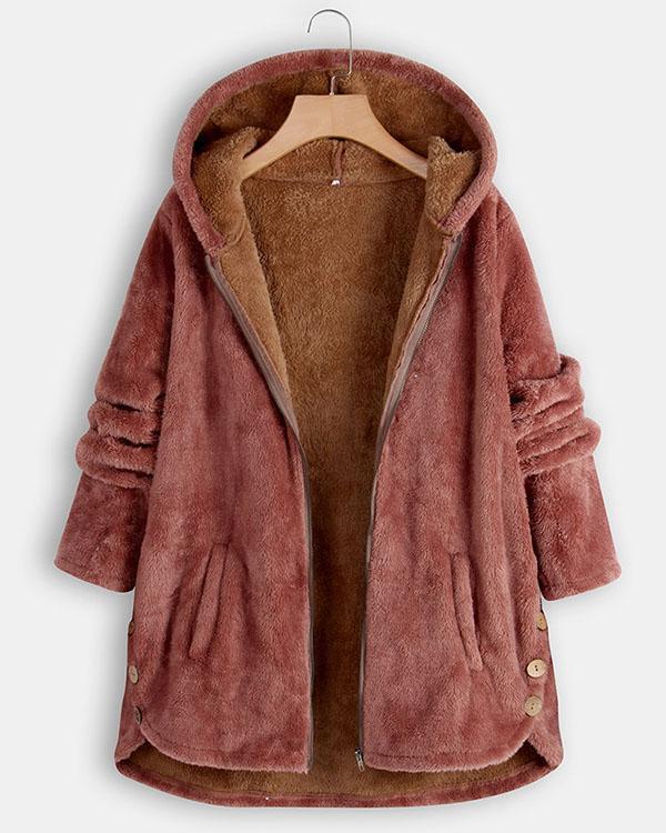 Fuzzy Winter  Hooded Coat Warm Coat