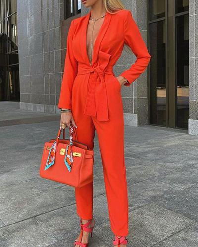 Sexy Deep V Neck Pure Colour Long Sleeve Bandage Jumpsuit