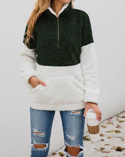 Color Block Turtleneck Long Sleeve Teddy Bear Fluffy Sweatshirts