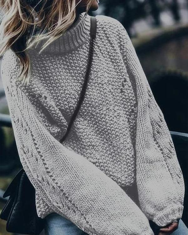 Hollow Out Turtlenck Knitted Pullover Sweater