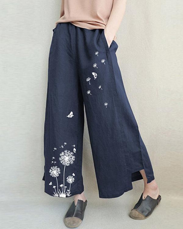 Womens Loose Casual Print Linen Cotton Wide Leg Pants