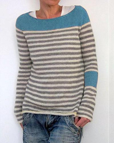 Striped Buttoned Color-block Knitted Tops Sweaters