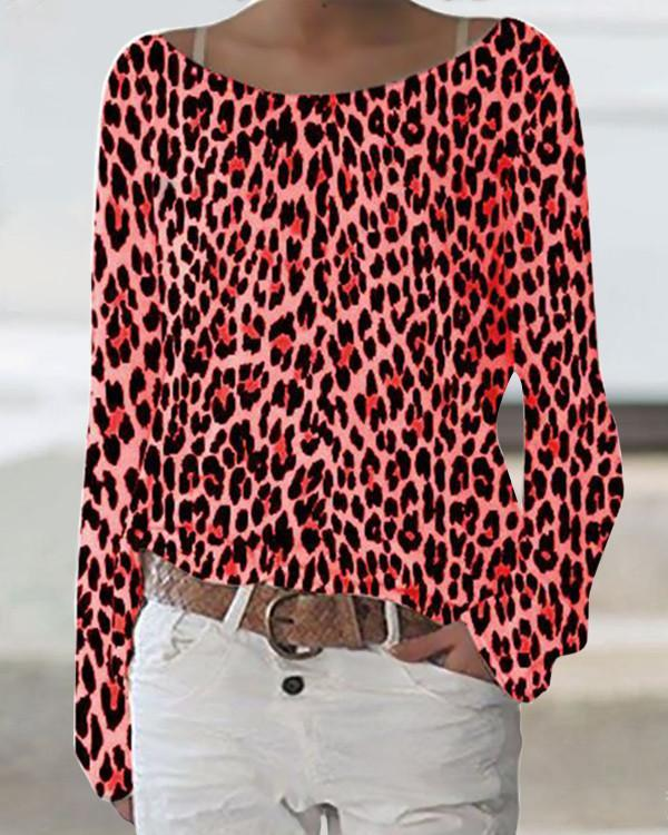 Leopard Print Daytime Crew Neck Long Sleeves T-shirt