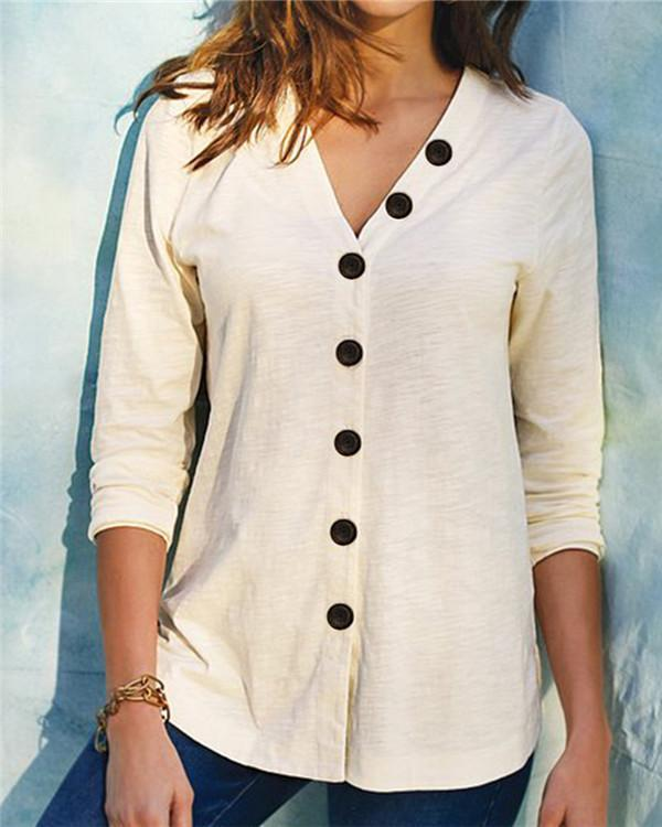 V-neck Button Solid Casual T-shirt