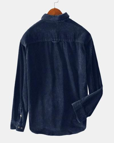 Mens Corduroy Solid Color Chest Pockets Turn Down Collar Long Sleeve Shirts
