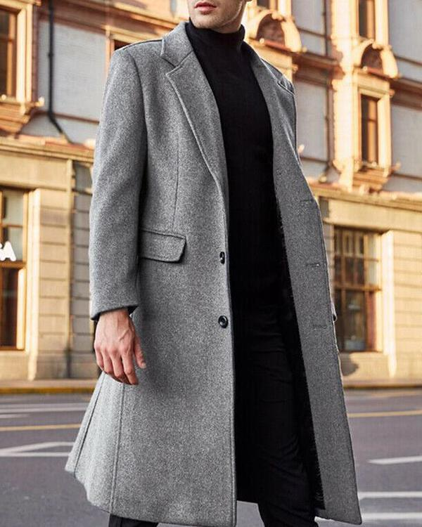 British Men's Classic Vintage Solid Color Coat