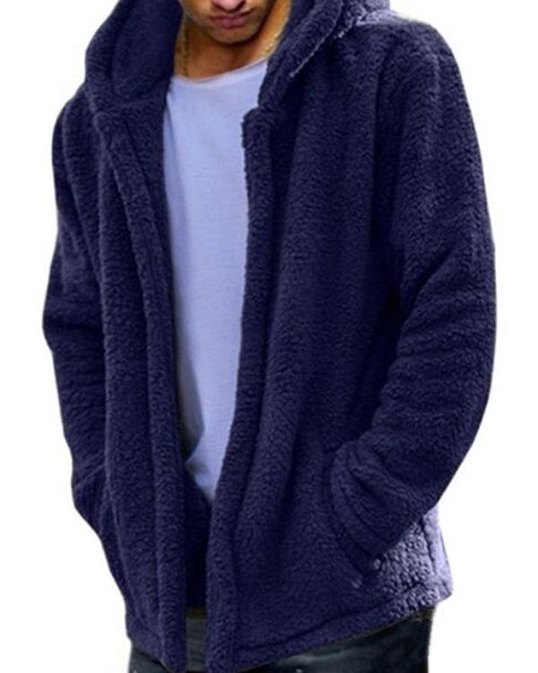 Mens Winter Casual Loose Fleece Solid Color Long Sleeve Warm Coat