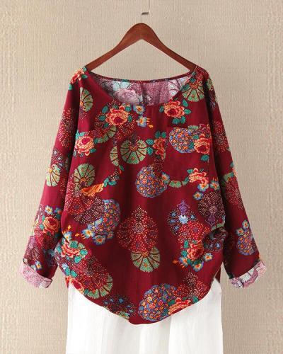 Plus Size Round Neck Vintage Floral Linen Cotton Blouses