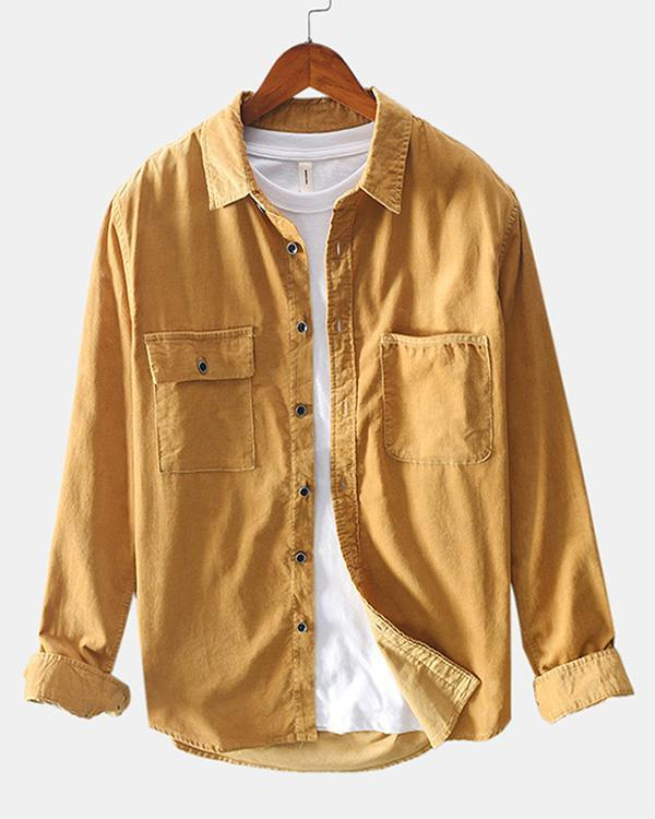 Mens Corduroy Solid Color Chest Pockets Long Sleeve Casual Shirts