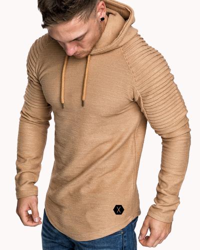 Mens Irregular Hem Hooded Striped Fold Raglan Sleeve O-neck Solid Color Casual Sweatshirt