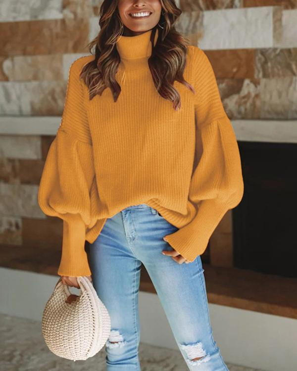Women Winter Autumn Casual Solid Color Sweaters
