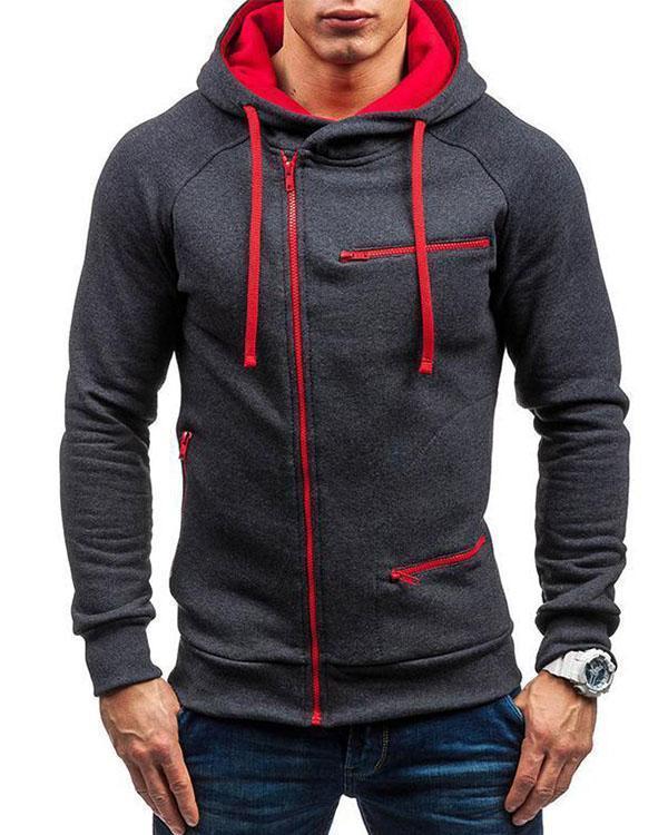 Men's Casual Sport Tilted Zipper Up Safe Zipper Pockets Drawstring Hooded Sweatshirts