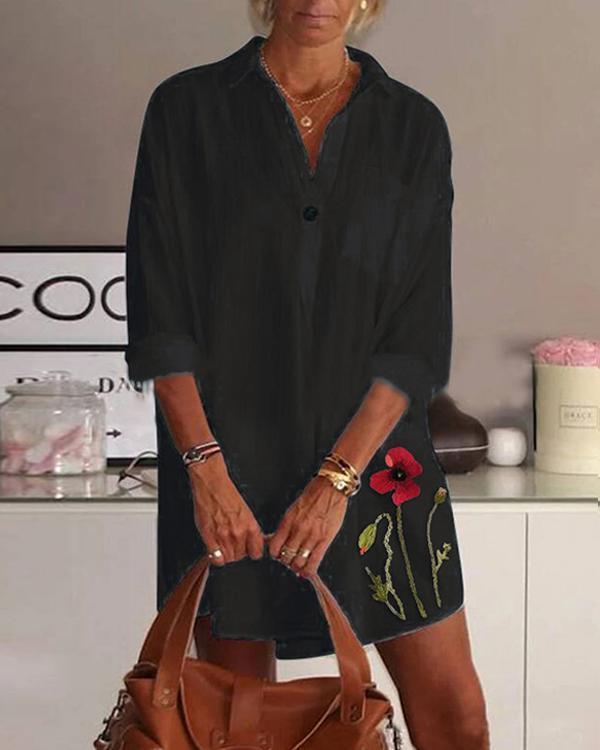 Plus Size Floral Print Turn-down Collar Long Sleeve Blouse/Dress