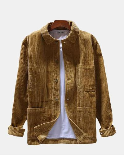 Casual Vintage Turn Down Collar Corduroy Shirt Long Sleeve Multi Pockets Shirt for Men