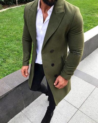 Men's Fashion Solid Color Autumn Winter Buttoned Coats