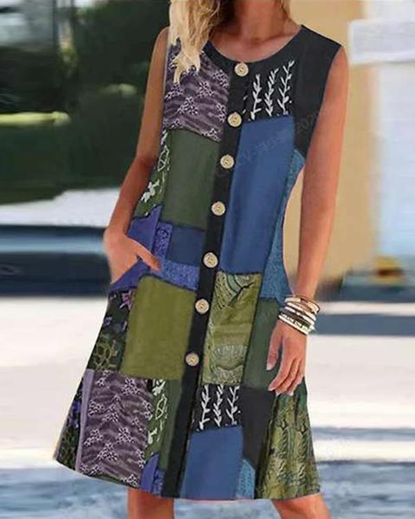 Vintage Graphic Print Color-block Sleeveless Midi Dress