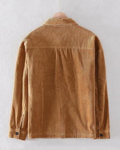 Mens Plain Corduroy Chest Pockets Turn Down Collar Long Sleeve Shirts Jackets