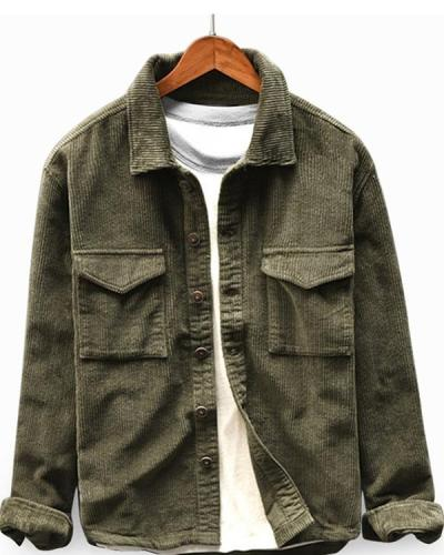 Casual Vintage Turn Down Collar Corduroy Shirt Long Sleeve Button Down Jacket for Men