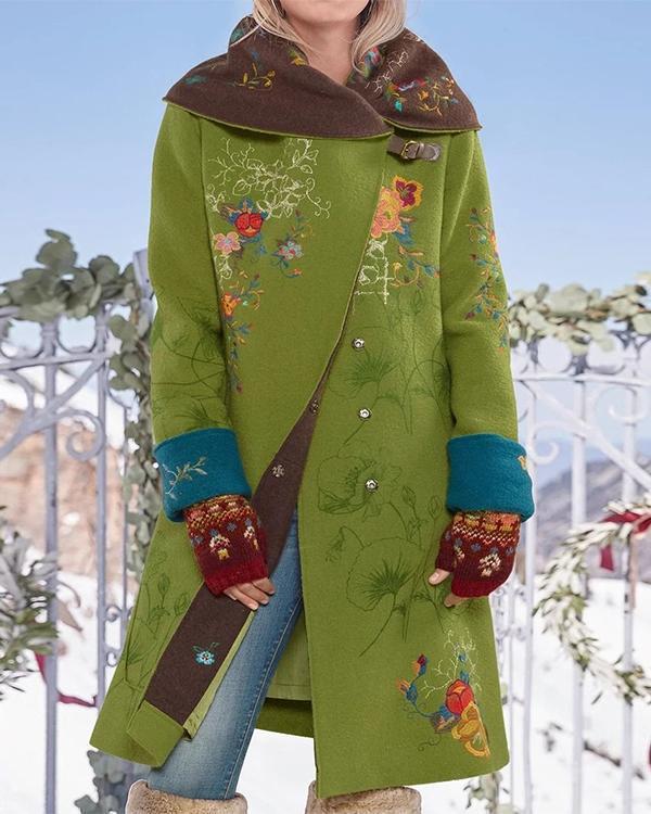 Vintage Print Button Long Sleeve Woolen Coat