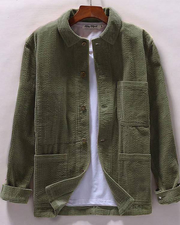 Casual Vintage Turn Down Collar Corduroy Shirt Long Sleeve Multi Pockets Shirt for Men