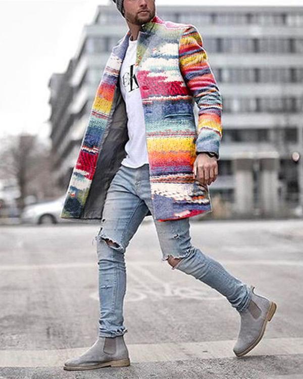 Fashion Business Rainbow Print Coat
