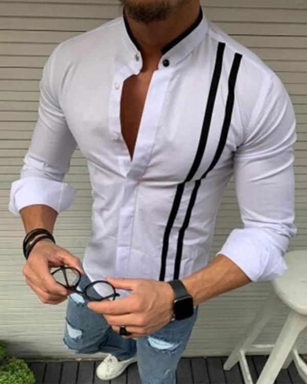 Men's Basic Shirt Long Sleeve Casual Tops