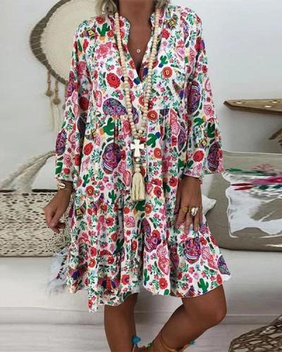 Women's Plus Size Print Mini Dress Casual Loose Dress Beach Party Dress